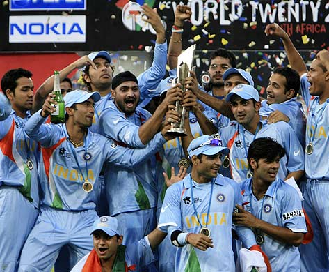 India celebrate the T20 world cup victory....